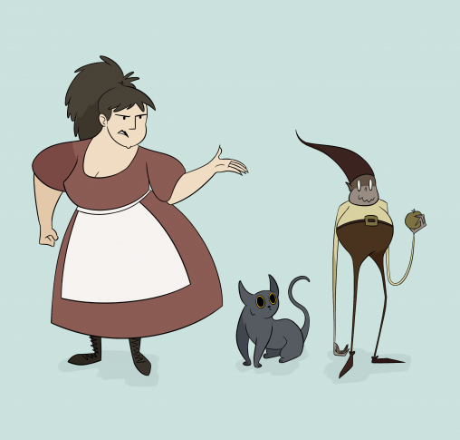 A nasty innkeeper, her cat, and a food-stealing spirit