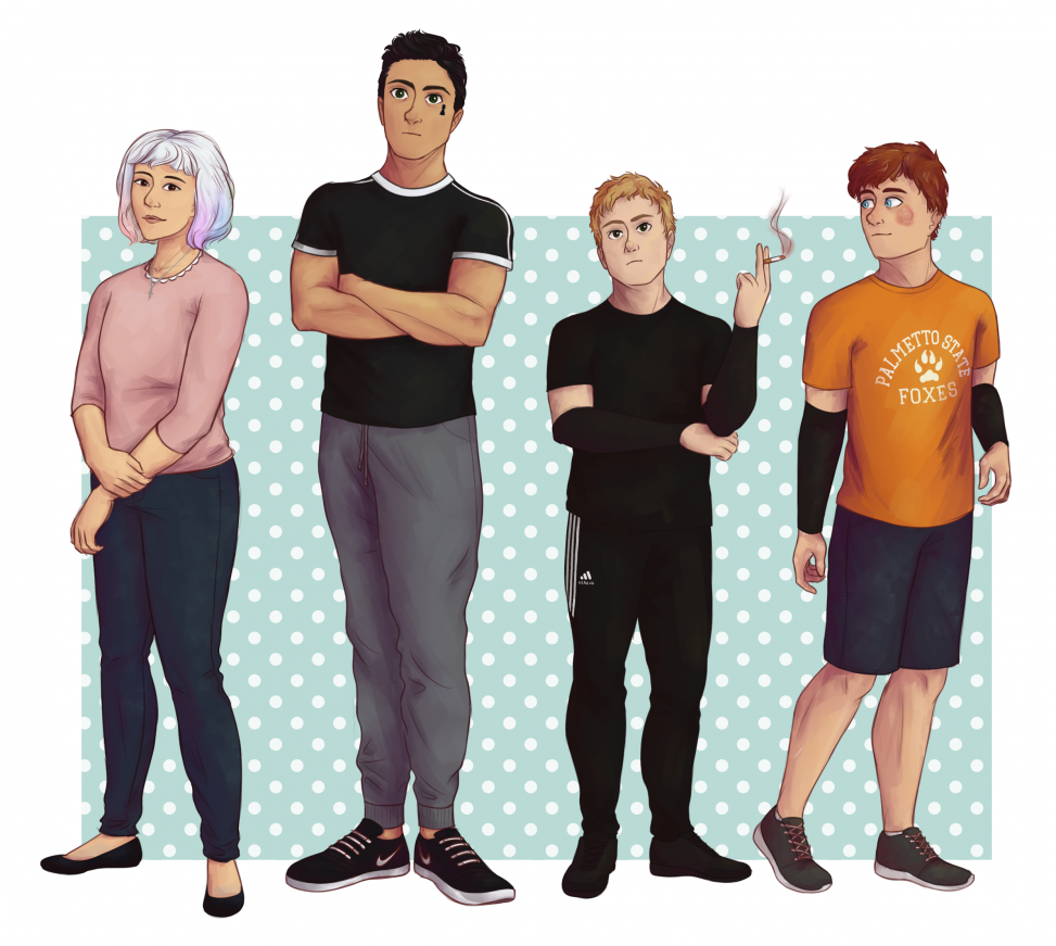 Character designs for the book series the foxhole court