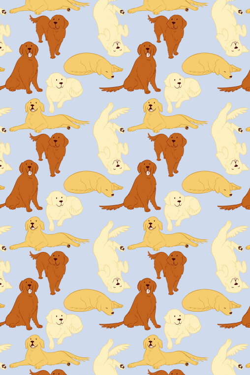 drawings of cute golden retrievers tiled on a blue background