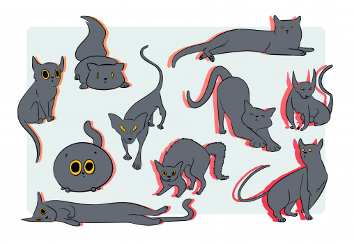 ten different stylized cat designs