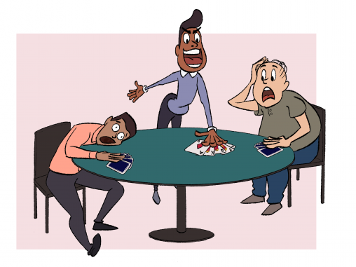 a man plays a winning hand in poker to the surprise and dismay of the others